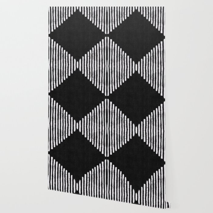 Diamond Stripe Geometric Block Print in Black and White Wallpaper