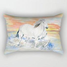 Wild White Horse at Sunset Rectangular Pillow