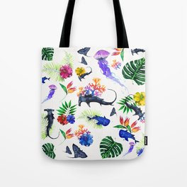 tropical shark pattern Tote Bag