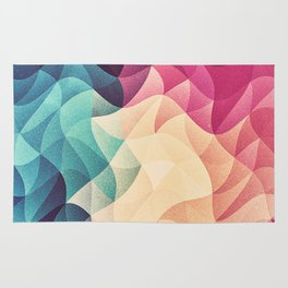 Geometry Triangle Wave Multicolor Mosaic Pattern - (HDR - Low Poly Art) - FULL Rug