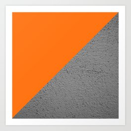 Cement vs Orange Diagonal Color-block Art Print