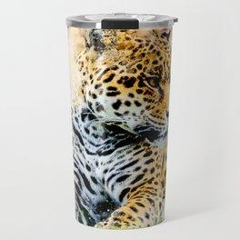 Jaguar in watercolor Travel Mug