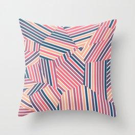 Tequila Sunset - Voronoi Stripes Throw Pillow
