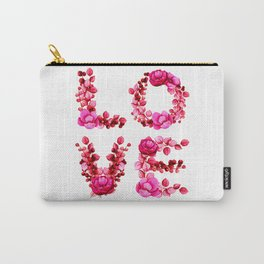 Valentine L-O-V-E in Red Flowers Carry-All Pouch