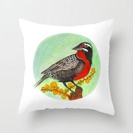 Loica bird Throw Pillow
