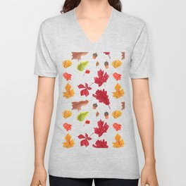 Autumn leaves pattern. Seamless pattern with various hand drawn autumn leaves.  Unisex V-Neck