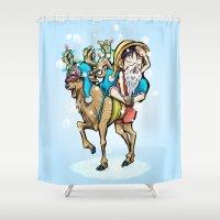 luffy Shower Curtains featuring A One Piece Tony Tony Chopper Christmas by Barrett Biggers