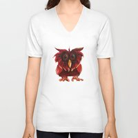 transparent V-neck T-shirts featuring Hoot Transparent by Megan Coyne