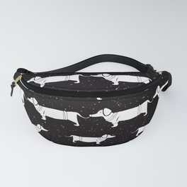 Funny Dachshund Pattern - White on Black - Mix & Match with Simplicity of life Fanny Pack