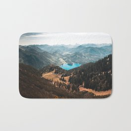Mountains and lake Bath Mat