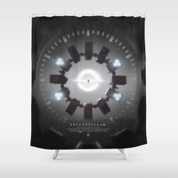 movie poster Shower Curtains featuring INTERSTELLAR movie poster by yurishwedoff