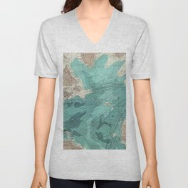 Vintage Green Transatlantic Mapping Unisex V-Neck