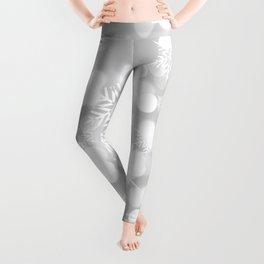 Christmas Snowflakes Bokeh Silver Pattern Leggings