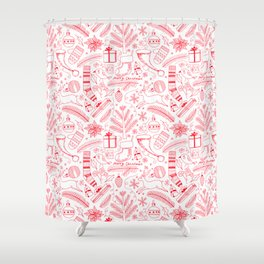 Doodle Christmas pattern red Shower Curtain