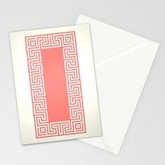 Greek Key coral Stationery Cards