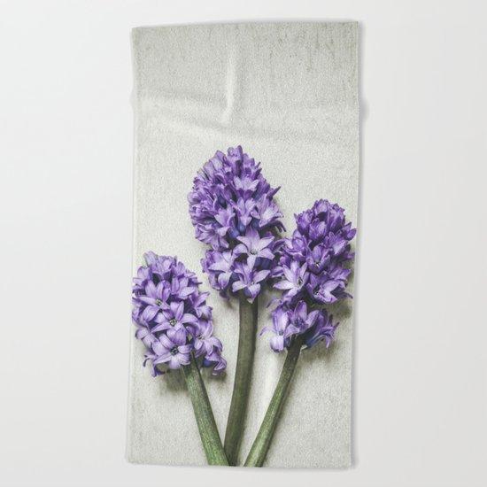 Three Lilac Hyacinth Beach Towel