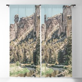 Vintage Smith Rock State Park // River and Rocks Scenic Hiking Landscape Photograph Blackout Curtain