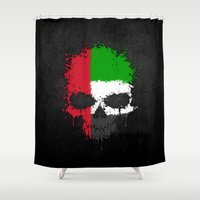 arab Shower Curtains featuring Flag of United Arab Emirates on a Chaotic Splatter Skull by Jeff Bartels