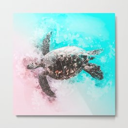 Sea Turtle Abstract Watercolor Painting Metal Print