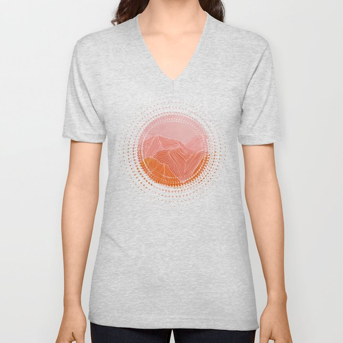Lines in the mountains - pink II Unisex V-Neck