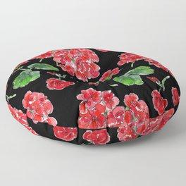 Red Geranium with black background Floor Pillow