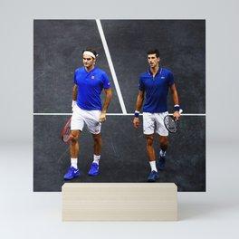 Federer and Djokovic Doubles Mini Art Print
