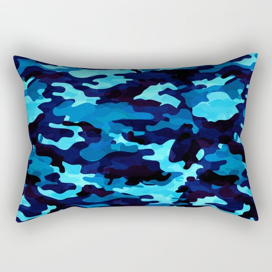 Camouflage (Blue) Rectangular Pillow