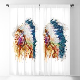 Native American Chief Blackout Curtain