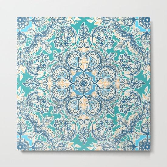 Gypsy Floral in Teal & Blue Metal Print