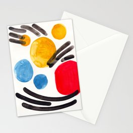Mid Century Modern Abstract Juvenile childrens Fun Art Primary Colors Watercolor Minimalist Pop Art Stationery Cards