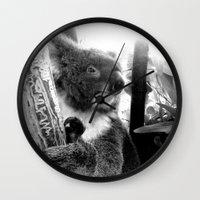 koala Wall Clocks featuring Koala by Alan Hogan