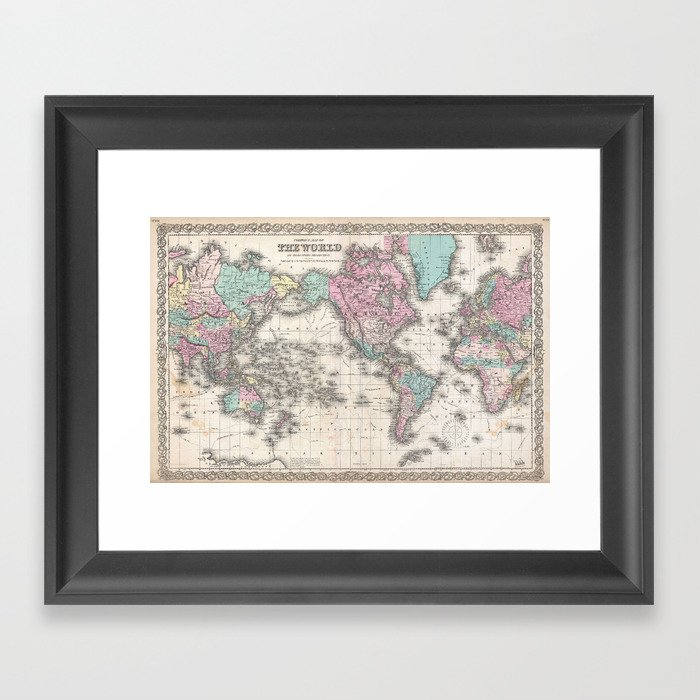 Vintage world map from 1855 geographic atlas of the world america vintage world map from 1855 geographic atlas of the world america europe gumiabroncs Gallery
