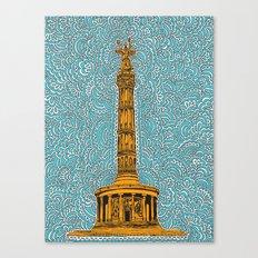Siegessäule Drawing Meditation - Blue Canvas Print