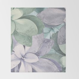 Succulent Plants Pattern Throw Blanket