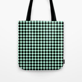 Black and Magic Mint Green Diamonds Tote Bag