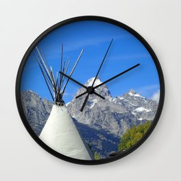 Tipi with snow capped mountains Wall Clock