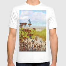 Plaid Beachscape with Dragonflies MEDIUM Mens Fitted Tee White