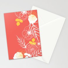 Coral Retro Floral Stationery Cards
