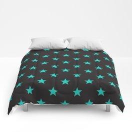Stary Stars - Tiffany blue on black background Comforters