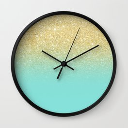 Modern chic gold glitter ombre robbin egg blue color block Wall Clock