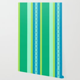 Mid-Century Awning Stripes, Jade Green and Blue Wallpaper