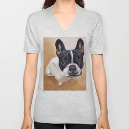French Bulldog Gouache Artwork Unisex V-Neck