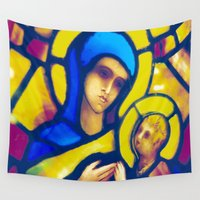 madonna Wall Tapestries featuring Madonna and Child by pennyprintables