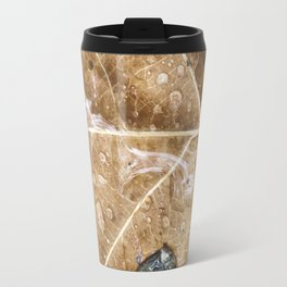 Raindrops on the leaf Travel Mug