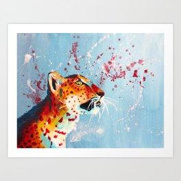 Curiosity - leopard acrylic painting, original animal art Art Print
