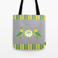 nan lawson Tote Bags featuring Green & Yellow Nan Birds by B.D.C. Design