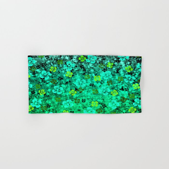 LUCK OF THE IRISH Colorful Emerald Green Ombre St Patricks Day Floral Shamrock Four Leaf Clover Art Hand & Bath Towel