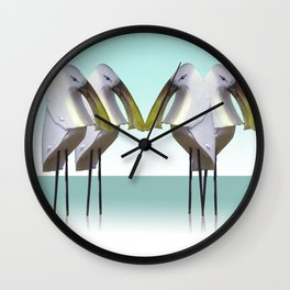 spoon birds gathering Wall Clock