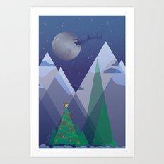 Christmas Night Alpine Flight Art Print