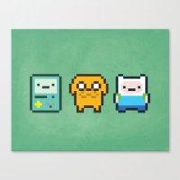 beemo Canvas Prints featuring 8-Bit Jake Finn & Beemo by geraldbrio